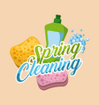 spring cleaning green plastic bottle and sponge vector image vector image