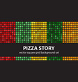 square pattern set pizza story seamless vector image vector image