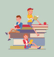 students on a book pile vector image vector image