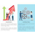 teamwork and interaction collection of posters vector image