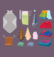 textile cottons fabric blankets and kitchen rags vector image