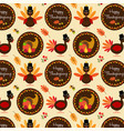 thanksgiving pattern with turkeys vector image vector image