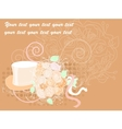 wedding card bouquet and the cylinder - golden vector image