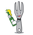 with beer fork character cartoon style vector image vector image
