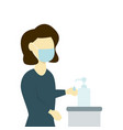 woman in protective mask uses a hand sanitizer vector image vector image