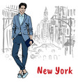 young man in new york vector image vector image