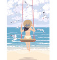 young woman in straw hat swinging on swing vector image vector image