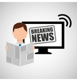 man reading news breaking vector image