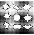 comic burst speech bubbles set with halftone vector image
