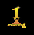 1st year anniversary celebration gold number