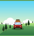 a car with luggage on top travel concept flat vector image