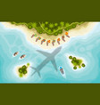 aairplane over tropical islands top view vector image vector image