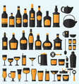 alcohol drinks icon set flat style eps10 vector image vector image