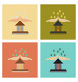 assembly flat icons nature hand house rain vector image vector image