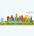 austin texas skyline with color buildings and vector image vector image