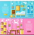 Baby Room Interior Horizontal Banners vector image