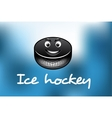 Cartoon ice hockey puck vector image vector image