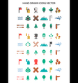 Colorful Camping icon set hand drawn vector image vector image