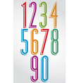 Colorful comic animated tall numbers with white vector image