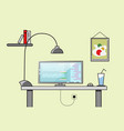 creative office desktop workspace yellow vector image vector image