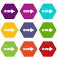 cursor icon set color hexahedron vector image vector image
