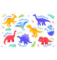 different dinosaurs - set flat design style vector image