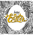 easter greeting card with floral frame in egg vector image vector image
