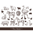 farm animals handdrawn vintage set with cow sheep vector image