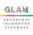 glitter confetti multicolored font isolated on vector image vector image