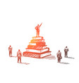 hand drawn leader standing on books heap tribune vector image vector image