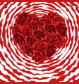 heart made of red roses in photorealistic detailed vector image vector image