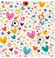 Hearts dots and stars funky cartoon pattern