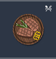 icon of steak on a wooden plate top view vector image