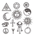 icons and symbols white magic occult mystic vector image