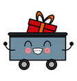 kawaii cargo train with gift box cartoon vector image