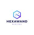 magic wand hexagon logo icon vector image