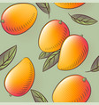 mango seamless pattern ripe fruits with leaves vector image vector image