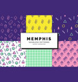 memphis seamless patterns set vector image vector image