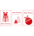merry christmas greeting cards flat new year vector image vector image