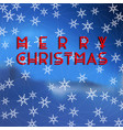 merry christmas text design on snowflakes vector image vector image