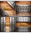 metal and wood background set vector image vector image