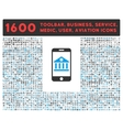 Mobile Bank Icon with Large Pictogram Collection vector image vector image