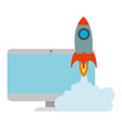 monitor computer with rocket launcher vector image vector image