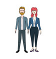 nice couple with hairstyle and elegant wear vector image