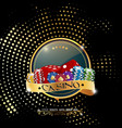 poker casino banner with chips and dices vector image vector image