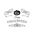 Pumpkin Smile Silhouette Happy Halloween Badge vector image vector image