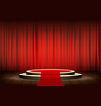 red carpet on the round podium with steps vector image