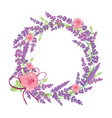 rose and lavender flowers wreath decor arrangement vector image vector image