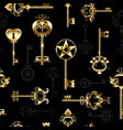 seamless pattern with golden keys vector image