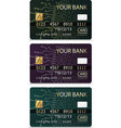 set of 3 credit cardsiv pcb-layout style vector image vector image